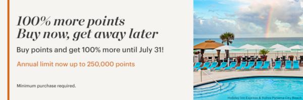 Compra puntos IHG Rewards Club con un 100% adicional.