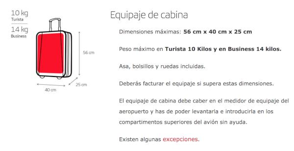 Nueva política de equipaje de mano de Iberia.