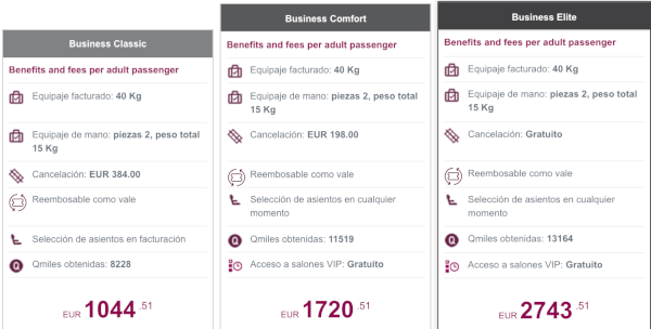 Nuevas Tarifas Business Qatar Airways.