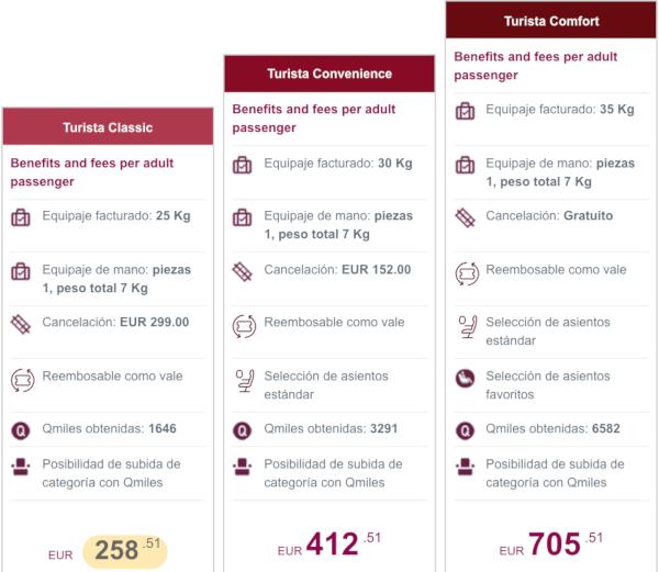 Nuevas Tarifas Turista Qatar Airways.
