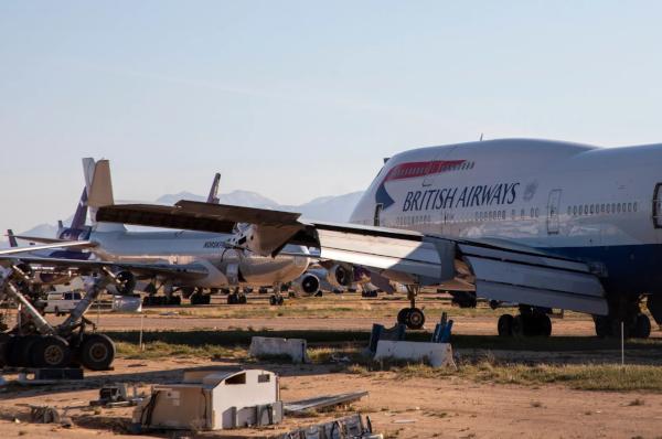 Un 747 de British Airways listo para desguace.