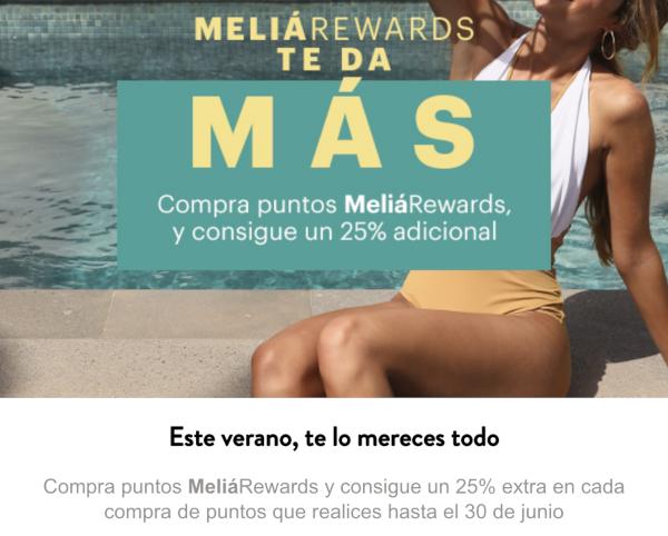 Promoción compra puntos MeliáRewards con un 25% extra.